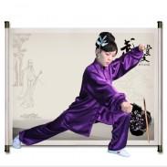 武极堂紫色贡缎太极服 太极拳服装 练功服 男女同款--【灵动】【推荐】