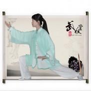 新款白色绿边高弹麻+绿色披纱表演服套装两件套 太极服装 太极服 太极表演服-【流水】 【推荐】