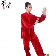 精品南韩绒太极服 韩国绒 金丝绒-赤焰红霞(正红)【会员特惠价】