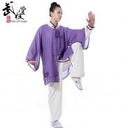 新款白色加紫色边高弹麻+紫色披纱三件套太极服 练功服 表演服套装 太极服装 男女款【流风】