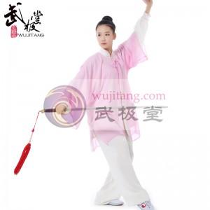 新款白色粉边高弹麻+粉色披纱表演服套装三件套 太极服装 太极服 太极表演服 【推荐】