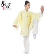新款白色金边高弹麻+浅黄色披纱 表演服套装三件套 太极服装 太极服 太极表演服 【推荐】
