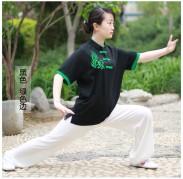 太极拳T恤 武术T恤 丝光棉 黑色加绿边