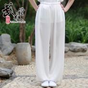 新麻纱太极裤练功裤夏季本白色