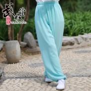 新麻纱太极裤练功裤夏季薄荷绿