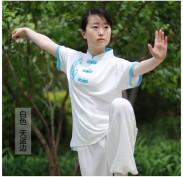 新款中式立领太极拳T恤 武术T恤 丝光棉透气 短半袖 白色系 红色