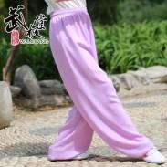 新麻纱太极裤练功裤夏季浅紫色