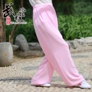 新麻纱太极裤练功裤夏季浅粉色