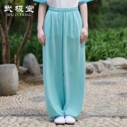 武极堂太极裤男女夏季武术太极拳练功裤子灯笼裤宽松透气垂新麻纱